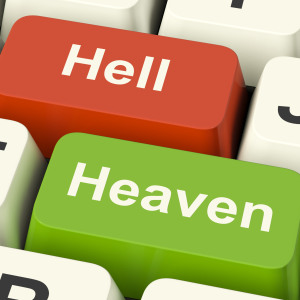 Heaven Hell Computer Keys Showing Choice Between Good And Evil Online